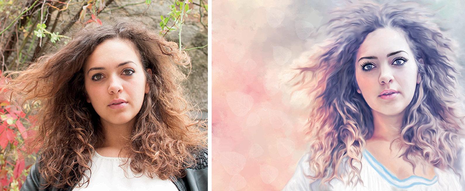 prima e dopo, digital art, dalla foto al dipinto